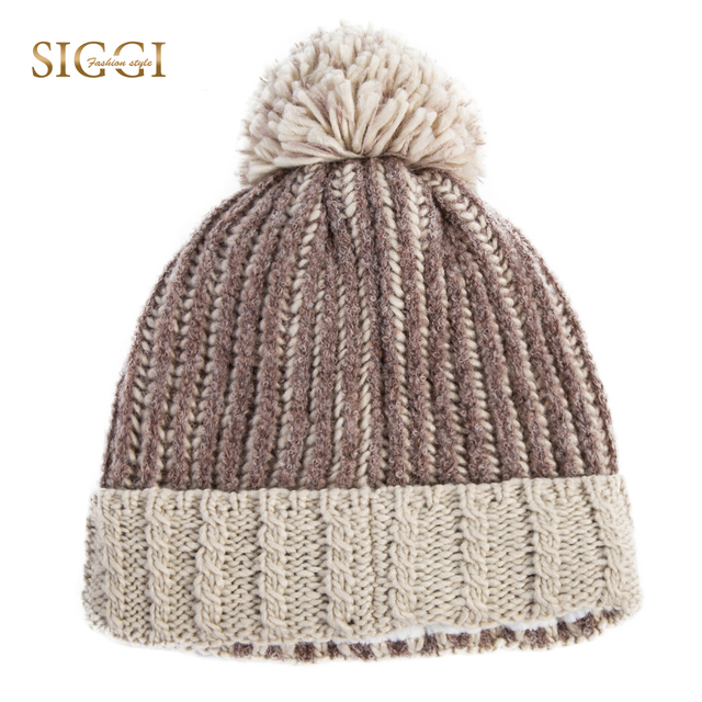 SIGGI Winter Women Acrylic Beanies Skullies Patchwork 4 Panels Warm Pompom  Warm Cute For Girls Youth Knitted Hats Female 88254 aae50f727370