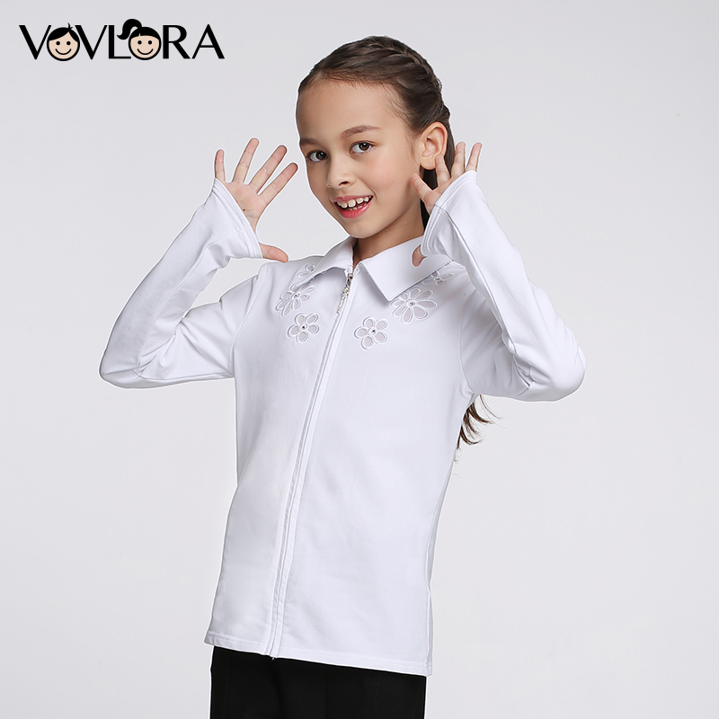 Girls School Blouse Long Sleeve Embroidery White Kids Blouses Cotton Zipper Turn down Children Clothes Size 7 8 9 10 11 12 Years