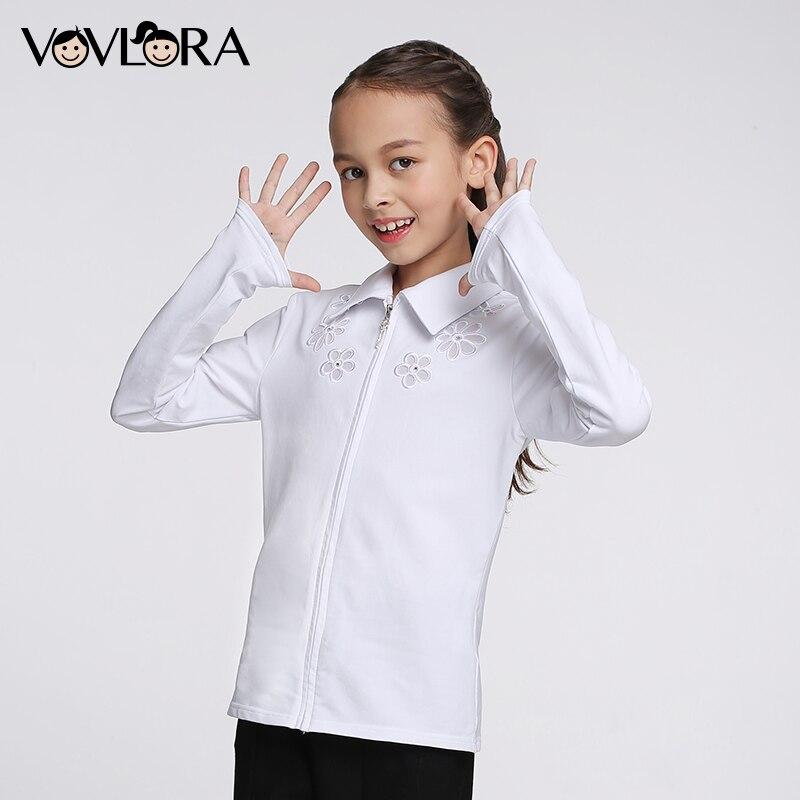 Girls school blouses cotton long sleeve Turn-down Collar kids girls White blouses children school shirt size 7 8 9 10 11 12 year