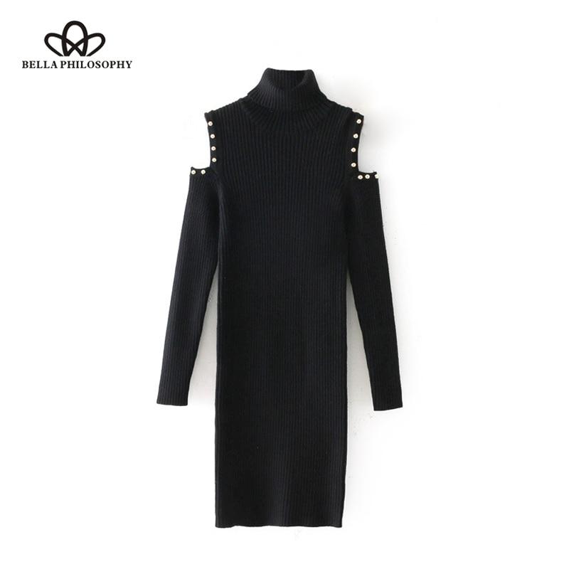 Bella Philosophy 2018 winter women casual knitted dress turtleneck hollow out long sleeve female dress black solid sheath dress