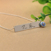 Evil Eye Signature Charm Necklace Personalized Silver Necklace For Women 925 Solid Silver Name Lucky Necklace