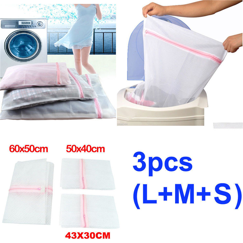 Fashion! 3pcs Zippered Foldable Nylon Laundry Bag Bra Socks Underwear Clothes Washing Machine Protection Net Mesh Bags