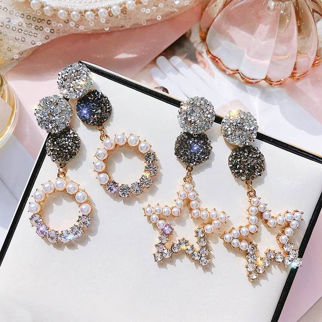 8ff4542c8 Statement Rhinestone Circle Star Korean Long Earrings For Women 2019 New  Trendy Jewelry Simulated Pearl Earring Bijoux