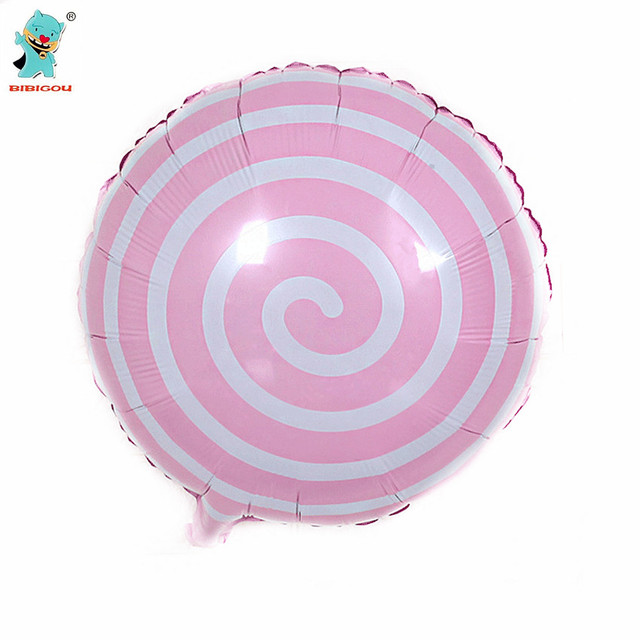 BIBIGOU Pink Balloons 18inches Round Shape Candy Aluminum Lollipop Foil 1PCS Birthday Party Wedding Decoration