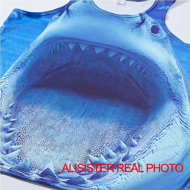 b3970c381c8 Alisister Plus Size 3d Vest Shark Print Men Women Sleeveless Tank Top  Bodybuilding Male Fitness Undershirts Summer Beach Top-in Tank Tops from  Men s ...