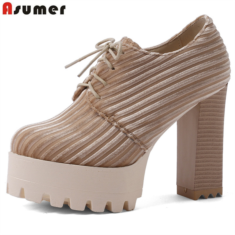 745691a06d6 ASUMER 2019 hot spring new shoes woman round toe lace up platform thick  high heels shoes