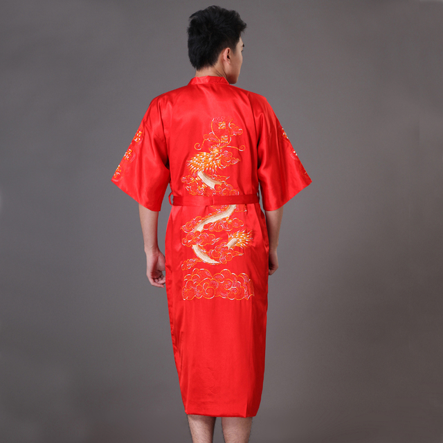 Red Chinese Men's Traditional Embroidery Dragon Robe Nightgown Summer Satin Sleepwear Kimono Bath Gown S M L XL XXL XXXL MP072