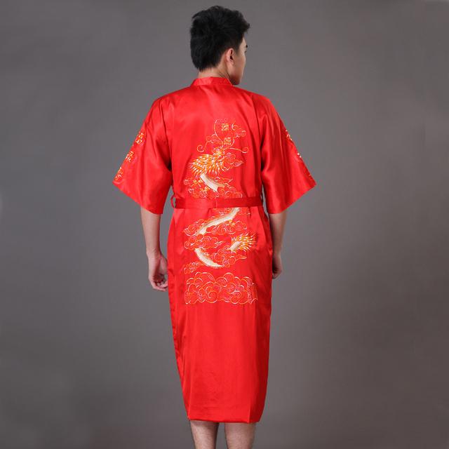 Rojo Tradicional de Los Hombres Chinos Del Dragón Bordado Camisón Bata de Satén Verano ropa de dormir Kimono Bath Vestido Sml XL XXL XXXL MP072