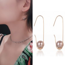 SUKI DropShip New Personality Fashion Simple Round Pearl Beads Pendant Ear Hooks Pin Earrings For Women Girls Gifts(China)