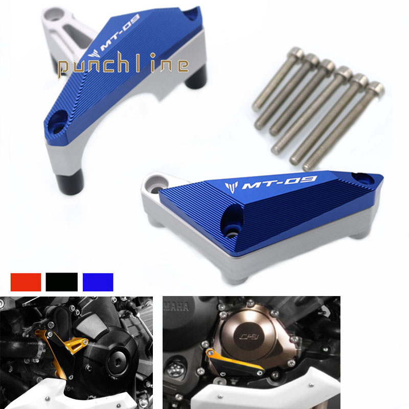 For YAMAHA FZ-09 FZ09 FZ09 MT-09 MT09 MT 09 2014-2015 Motorcycle Engine Protector Guard Cover Frame Slider Blue for yamaha mt 07 fz 07 mt07 fz07 2014 2016 motorcycle accessories cnc aluminum engine protector guard cover frame slider blue
