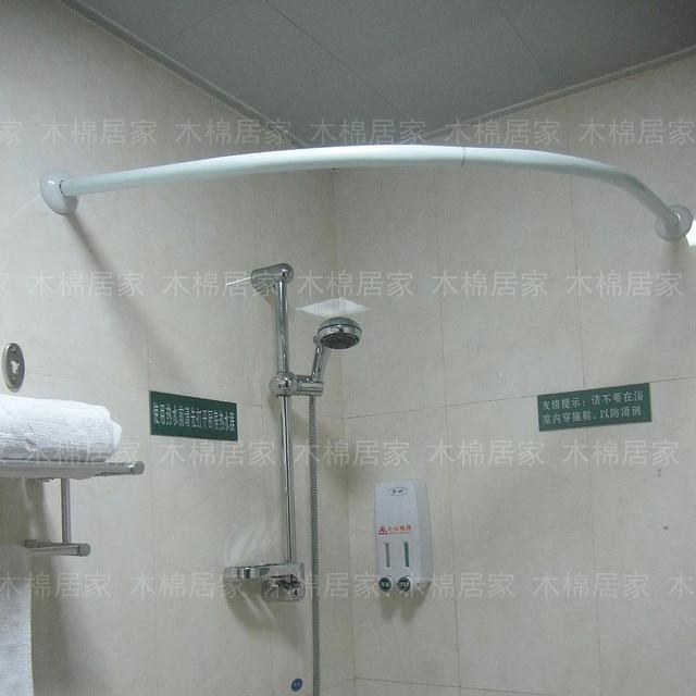 Aleaci n de aluminio curvado curvada barra de la cortina de ba o barra de colgar 90 90 cm en - Barra cortina bano ...