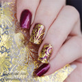 1 Sheet Embossed Texture Stickers Gold Silver Flower Grid Pattern 3D Nail Art Stickers Decals # 23155