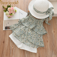 Bear Leader Baby Dresses Summer Girls Clothes Colorful Printing Dresses With Hat 2PCS Dresses