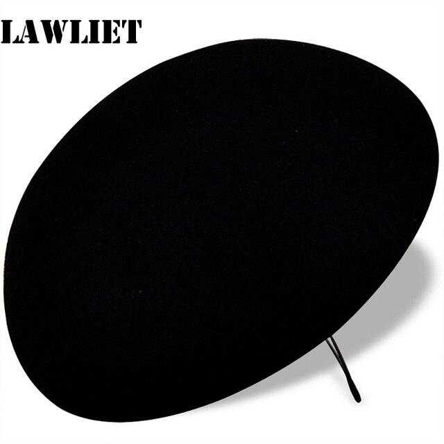 A048 Черный Шар Круг Шерсть Войлок Pillbox Hat Дамских TearDrop Чародей База Коктейль