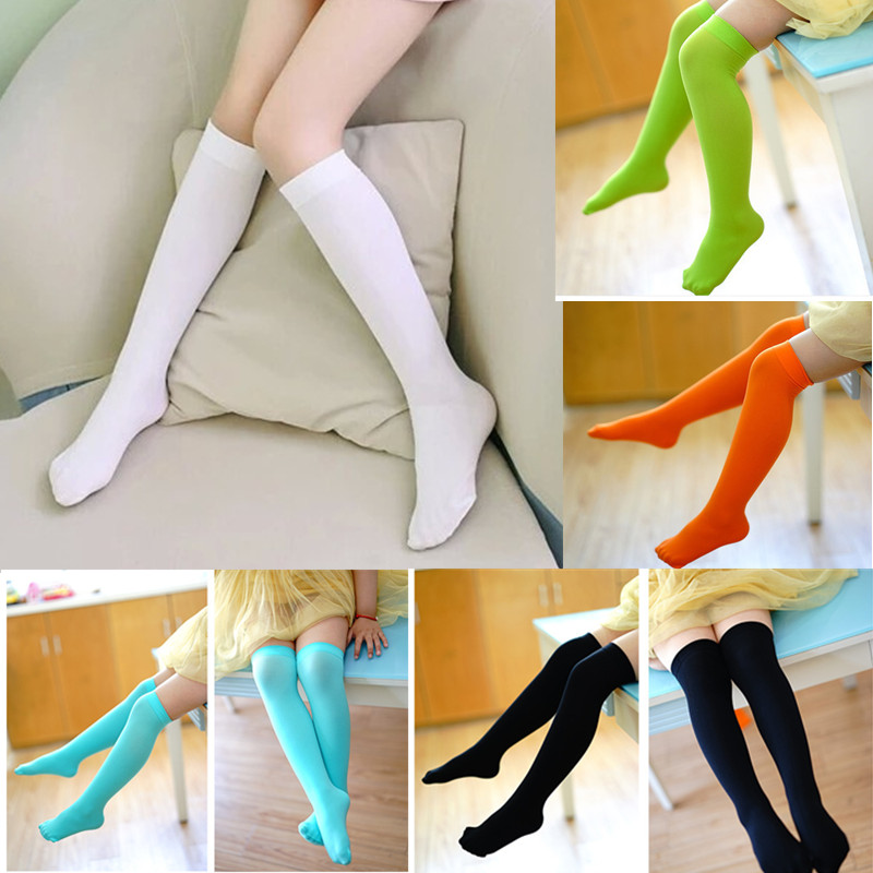 Girls Kids Solid Socks Long For Children Cute Polyester Knee High School Sock 6 Colors Girl Spring Autumn Solid Princess White