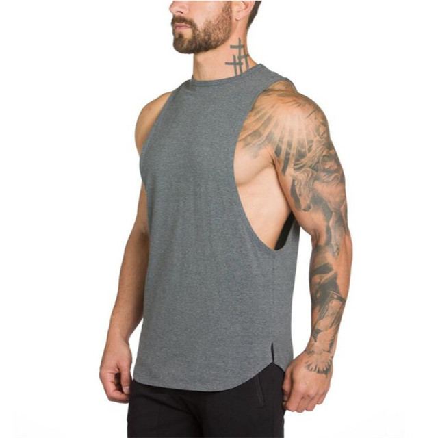 Brand Gyms Stringer Clothing Bodybuilding Tank Top Men Fitness Singlet Sleeveless Shirt Solid Cotton Muscle Vest Undershirt 4