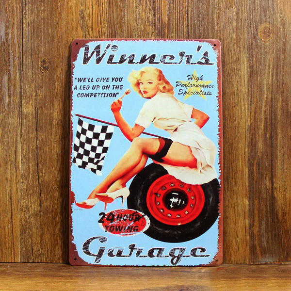 F1 Racing CAR SEXY LADY Poster Metal painting Tin signs Vintage Plaque Home decor Bar Pub Retro Iron wall Decor Free shipping
