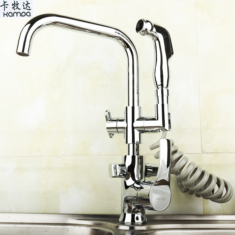 Kitchen Faucet Chrome Silver Extension type Spray Multifunction Single Holder Three hole Mixers Tap Hot Cold Water