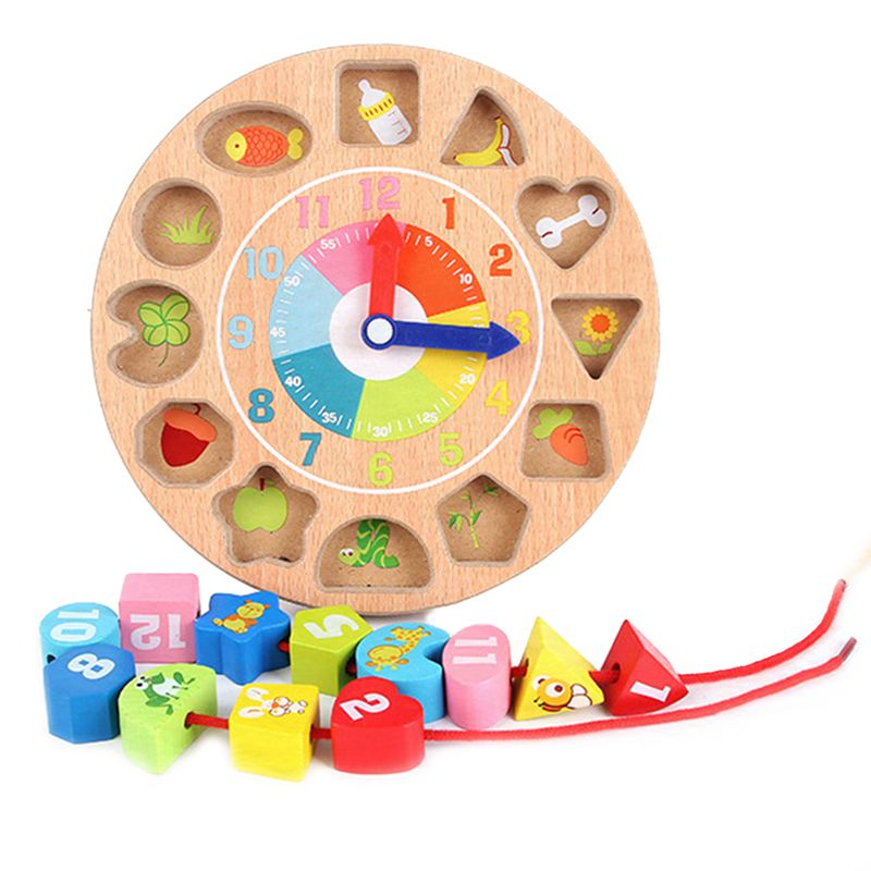 Children'S Intellectual Power Wooden Digital Animal Wearing Rope Toy Beaded Game Creative Clock Building Blocks Digital Geomet