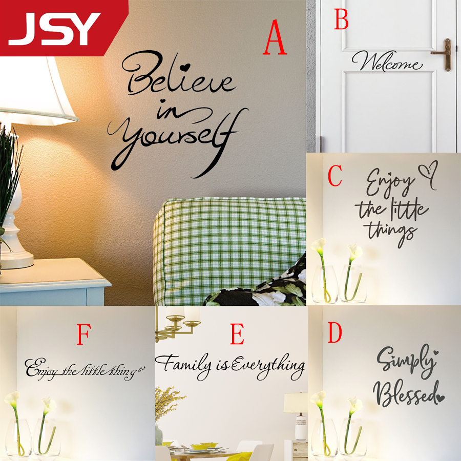 Jiangs Yu 1 PC Believe in yourself Inspirational Art PVC Quote Wall Stickers Bedroom Living Room Mural Home Decor in Wall Stickers from Home Garden