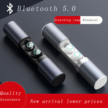 Smart Bluetooth 5.0 earphones Binaural Stereo noise cancelling  waterproof Touch headset Aviation Aluminum Alloy Charging Box