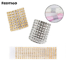FEESTIGO 30PCS Gold Silver Diamond Mesh Napkin Rings Wedding Holders Christmas Table Decoration New Year Decor
