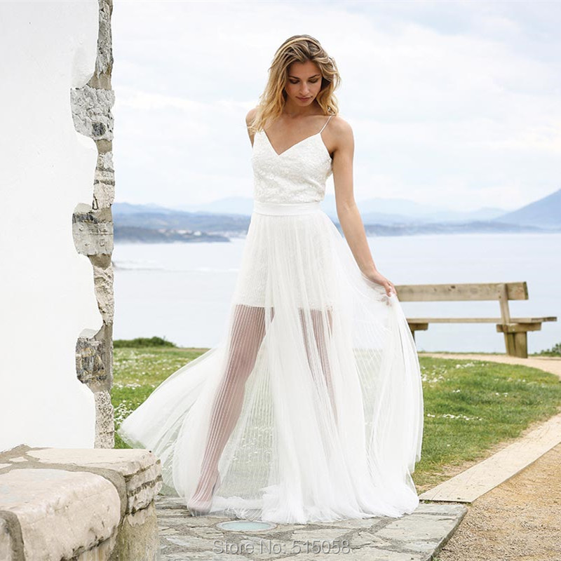 Rustic Lace Wedding Dresses: Chic Lace V Neck Pleated Tulle Rustic Wedding Dresses