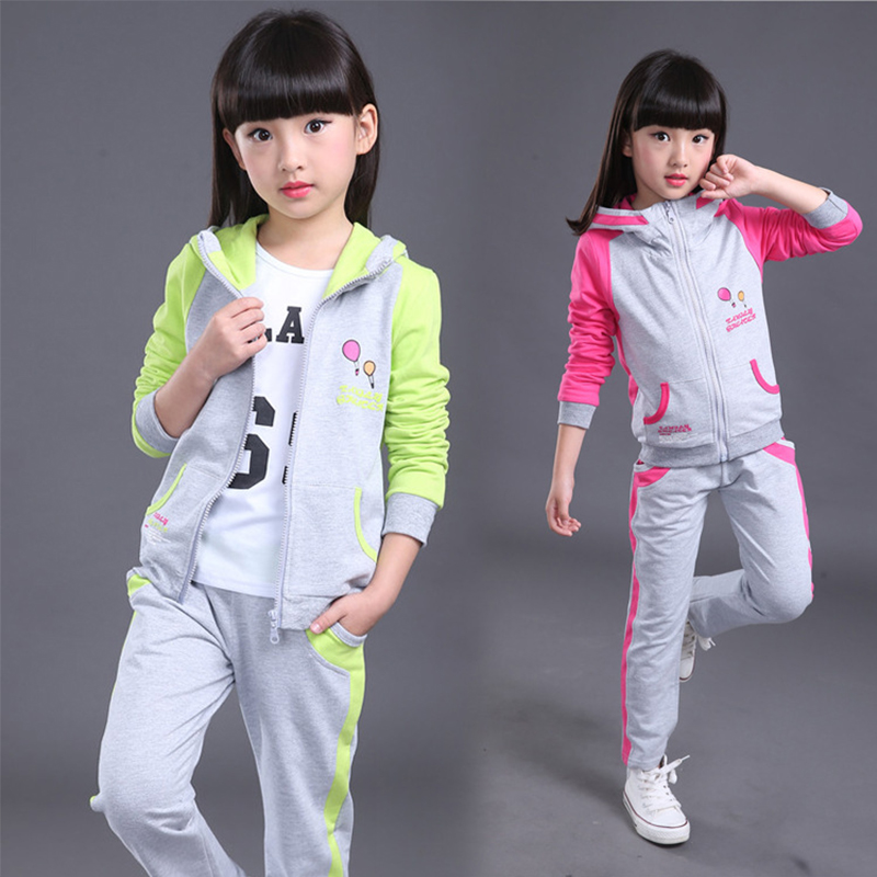 CN-RUBR Autumn Girls Clothes Hooded Printed Children Clothing Kids Coats Pants Sport Suits For Girl School Uniform Tracksuit spring autumn kids clothes sets for boys girls hooded sweatshirts pants children gold velvet clothing suits