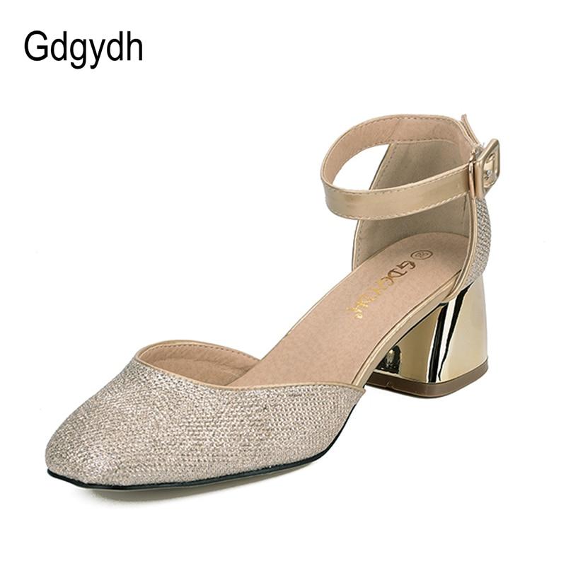Gdgydh Tavaszi Nyári Divat Női Szandál Bling Buckle Strap Thick - Női cipő
