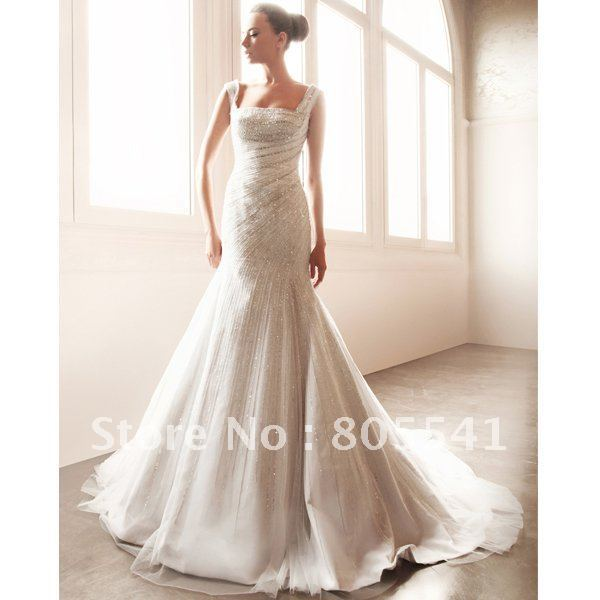 Free Shipping Luxury Mermaid Strapless Full of Beading Satin with Tulle Wedding Dress WD-062702 with High Quality