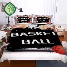 HELENGILI 3D Bedding Set Basketball Print Duvet cover set lifelike bedclothes with pillowcase bed home Textiles #LQ-15