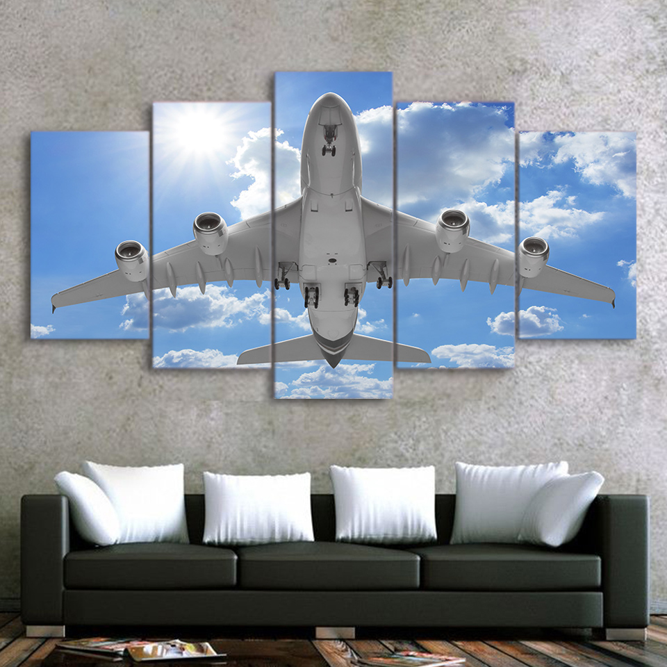 Canvas Pictures Home Decor Framework 5 Piece Airplane In Blue Sky Painting Modular HD Print Aircraft Poster Living Room Wall Art image