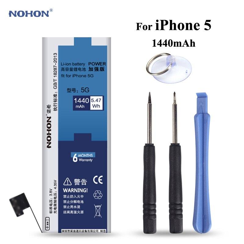 NOHON Ersatz Batterie für Apple iPhone 5 5g iPhone5 Hohe Reale Kapazität 3,8 v 1440 mah Li-polymer lithium-Batterien Mit Werkzeuge