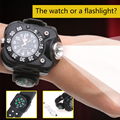 NEW 5 Modes Rechargeable  LED Wrist Watch Flashlight Torch USB Charging Wrist Model Tactical LED Flashlight With Compass