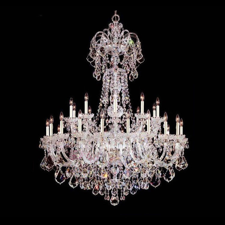Big hotel lustres de cristal large crystal lamp chandelier lighting home 30 LED candle lights church modern long led chandelier