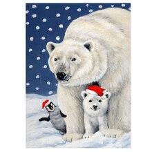 DIY diamond paitning White bear penguin christmas full diamond embroidery christmas bear family home decor animal diamond mosaic