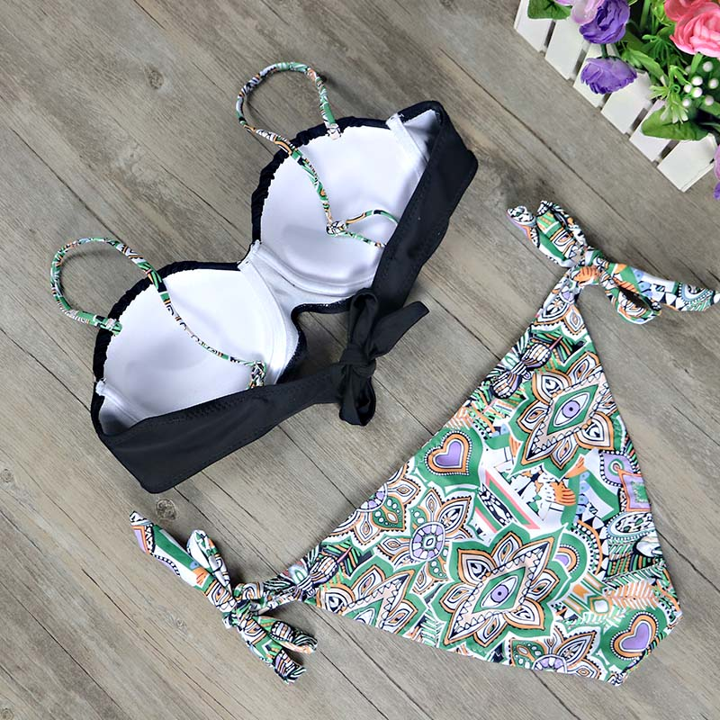 HTB1DjvRbjnuK1RkSmFPq6AuzFXaz 2019 New top sexy solid swimwear push up bikini bandage sport suit high cut bathing suit bandeau swimsuit women bikini set 2507