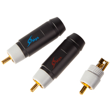 HiFi MPS Pioneer 8/10/11G HiFi Red Copper 24K Golden Plated RCA plug lotus For 8/10/11mm cable for CD DVD Amplifier DAC plug