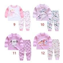 Детские пижамы с длинными рукавами; комплект из 2 предметов; хлопковая одежда с рисунком для девочек