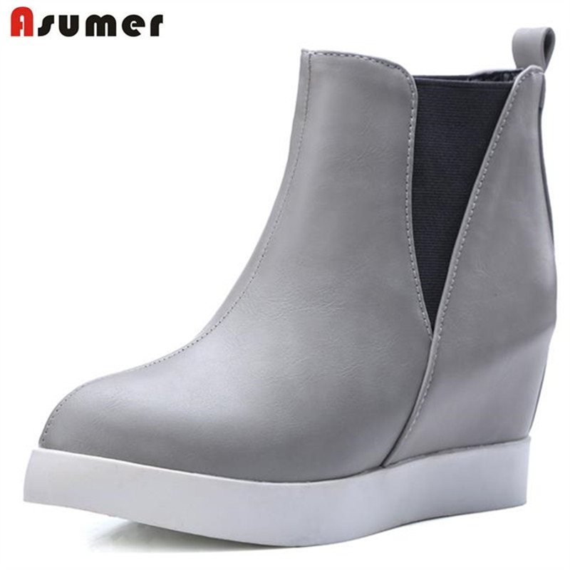 Asumer red wine black gray soft pu leather elastic band ankle boots pointed toe height increasing platform women boots 2015 retro elastic band rivets height increasing pointed toe platform 2 colors real leather mid calf boots women outdoor shoes