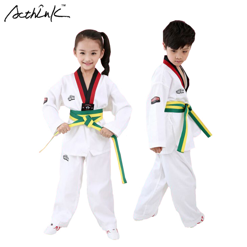 ActhInK New Kids Spring Boys TKD Uniform Fashion Girls Taekwondo Clothing set Brand Casual Style Sports Suit with Belt, ZC014 uovo brand kids spring autumn new sport shoes for girls green color casual sneakers kids fashion canvas shoe zapatos eu 30 37