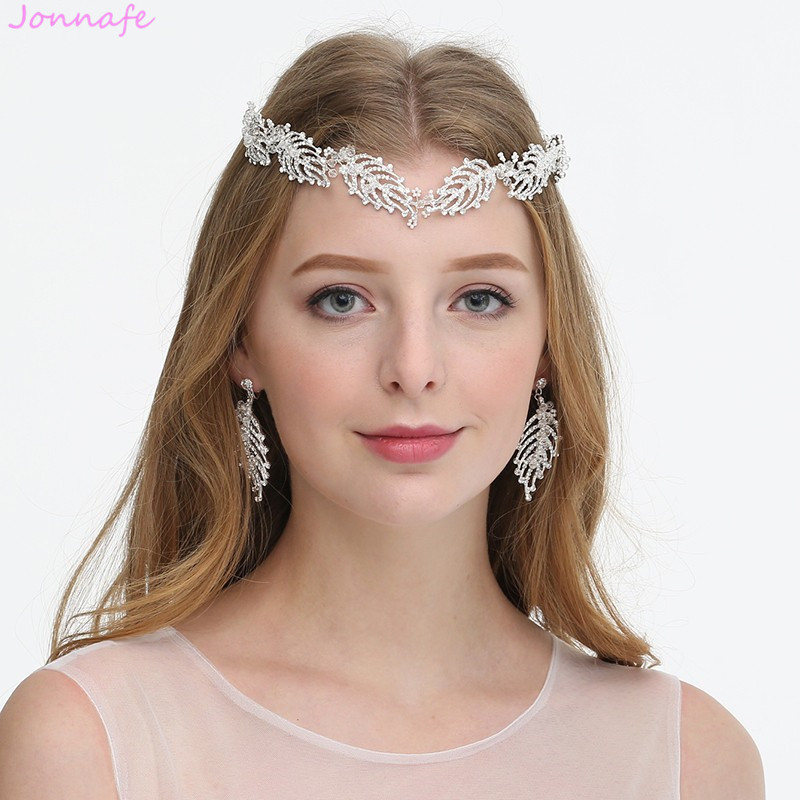 Jonnafe Handmade Silver Leaf Women Forehead Tiara Rhinestone Bridal Headband Wedding Hair Crown Accessories