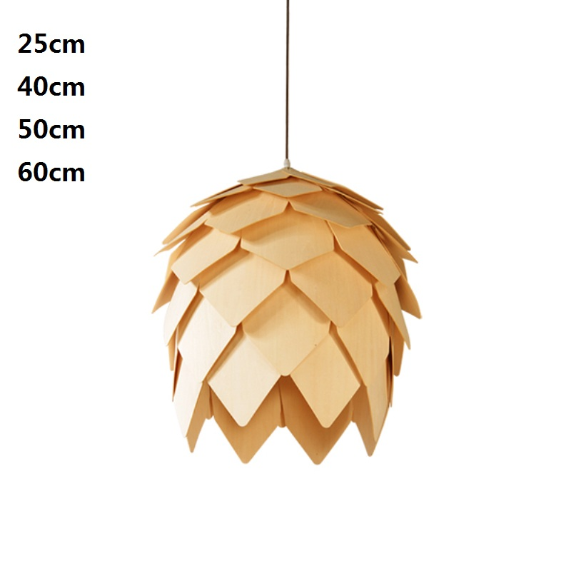 Modern OAK Wooden Pinecone Pendant Lights Wood PH Artichoke Hanglamp Hout Lamps Dinning Room Restaurant Retro Fixtures Luminaire 50cm aluminium luz pendente modern lamp designs ph artichoke pendant lights for home white luminaria 110v 220v