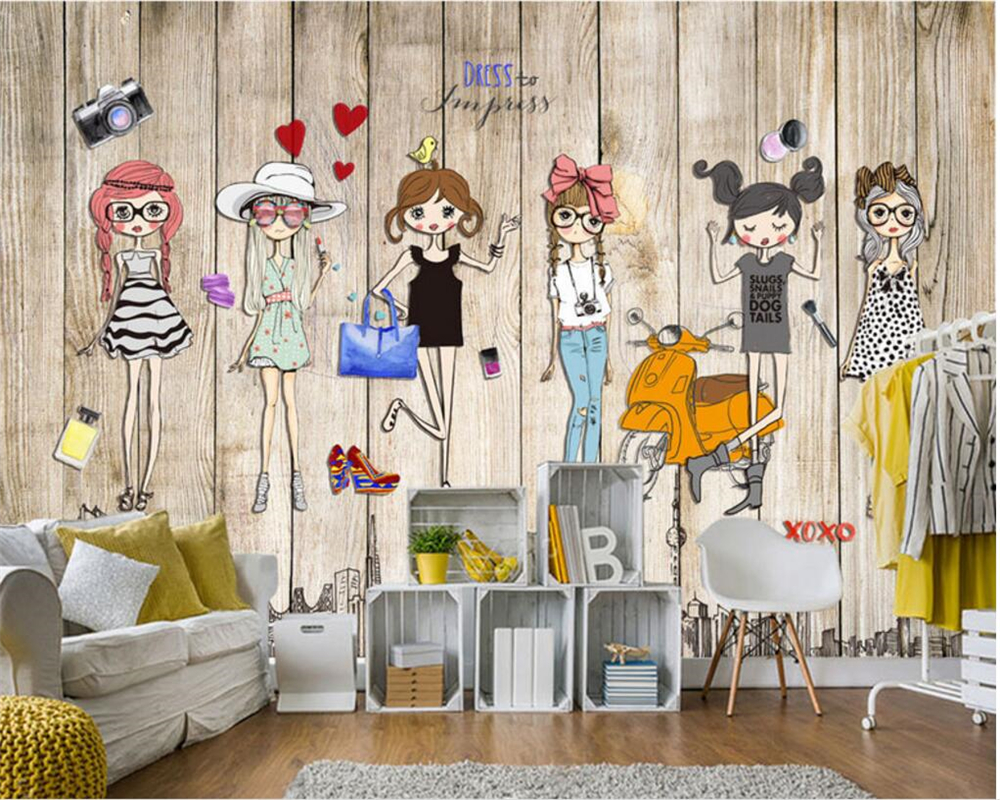 Beibehang Large  Photo Wallpaper Handmade Wooden Stereo Fashion Girl Home Decorative Wallpaper For Walls 3 D Papel De Parede