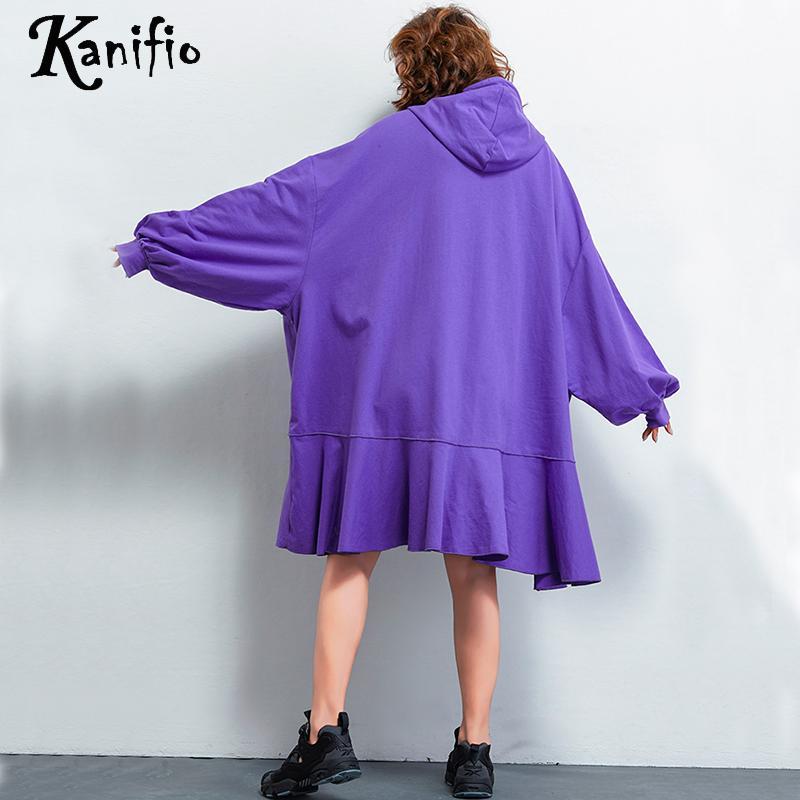 Kanifio Surdimensionné Vêtements Taille Lâche Plus Noir La Tunique Coton 9xl pourpre Femmes Casual Dames De Marque Robe 10xl Robes Femme Vestidio Mode Yby76gf