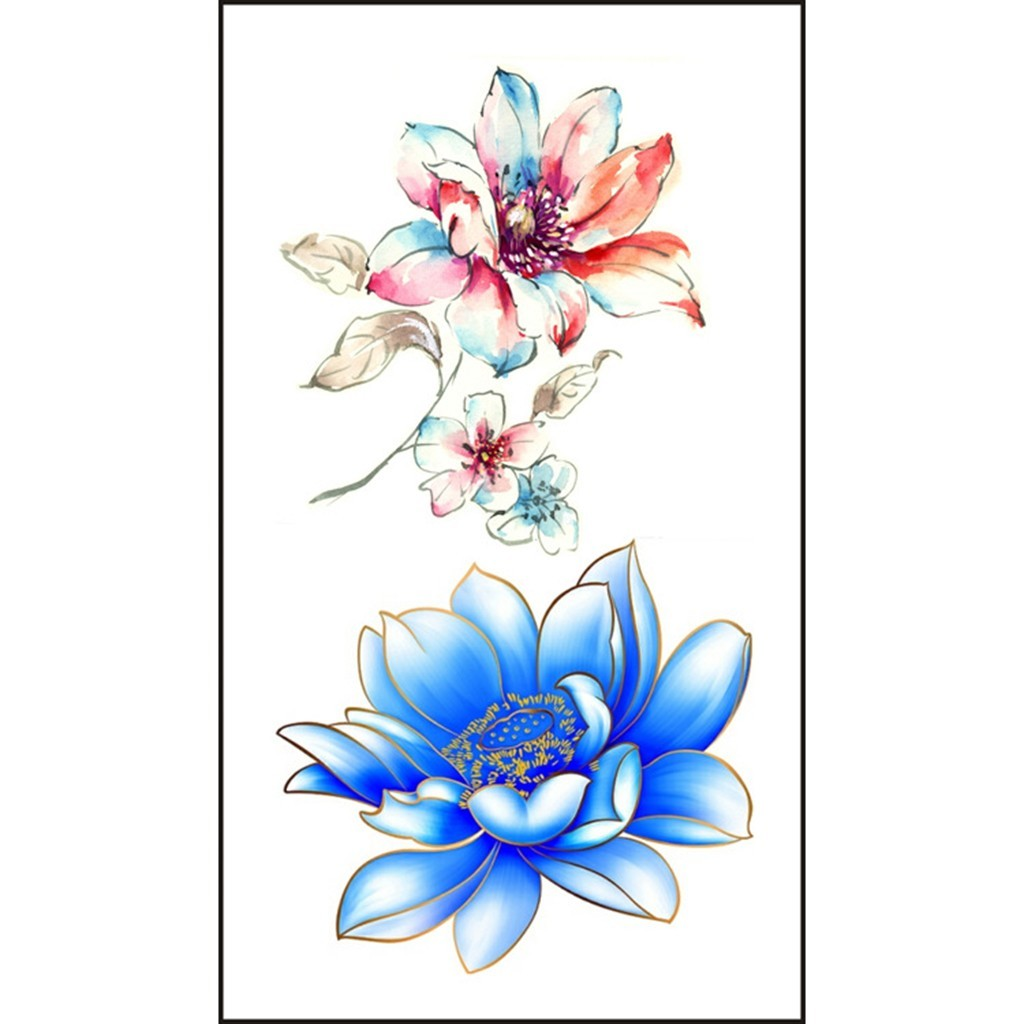 1pc Flowers Tattoos Waterproof Body Temporary Tattoos Removable Sticker Men And Women Henna Tattoo Body Art Design   4