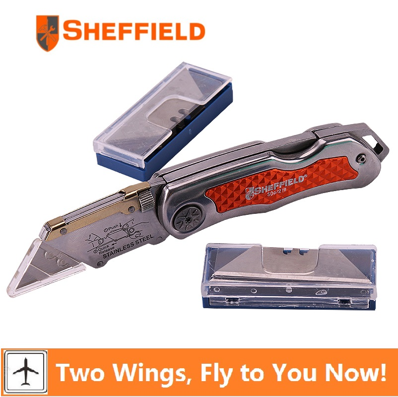 Sheffield Quick Change Folding Utility Knife Paper cutter tool hunting survival knife Outdoor Camping Knife with 20 blades цена