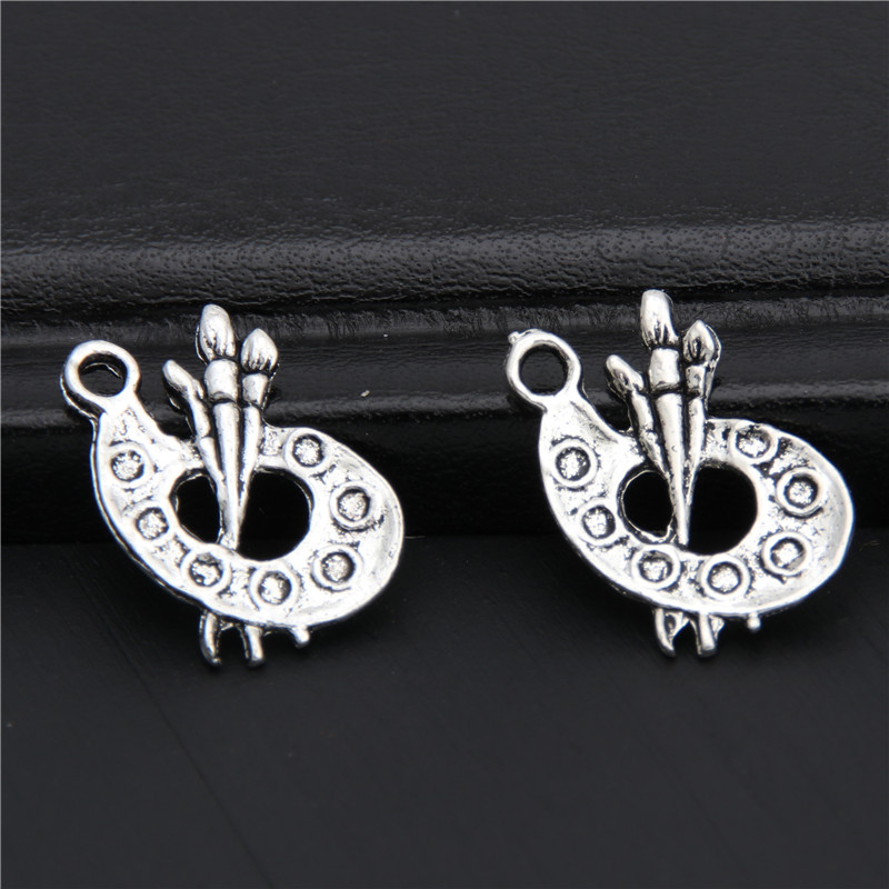 2f470a9cb0664 US $1.55  20pcs Antique Silver Painting Brush And Palette Pendant Brush And  Palette Charms Art Jewelry For Artist A2940-in Charms from Jewelry & ...