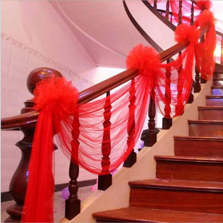 1 комплект свадьба декоративные статьи перила лестницы украшением марли занавес костюм 1.5*9 метров