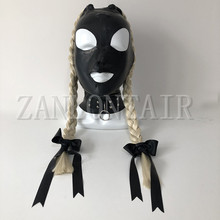 hot new sexy exotic lingerie black handmade latex hoods mask with two back side twisted braid pigtail fetish cekc zentai uniform